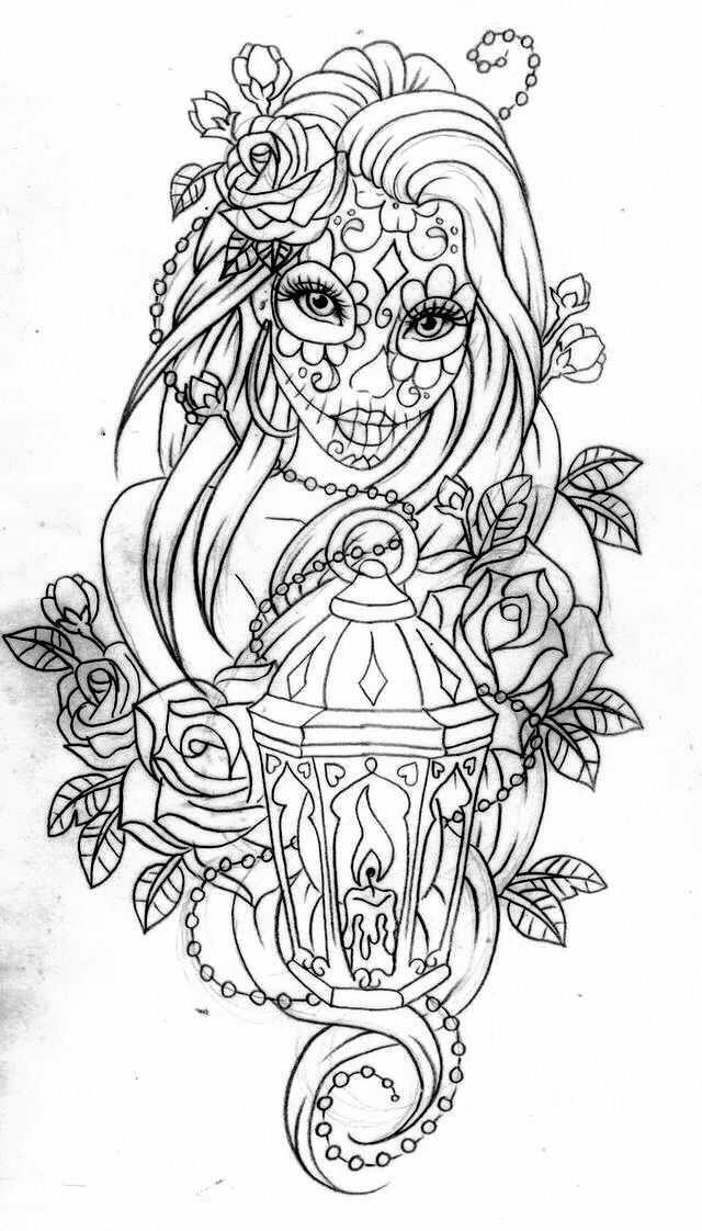 day of the dead coloring page more - Tattoo Coloring Books