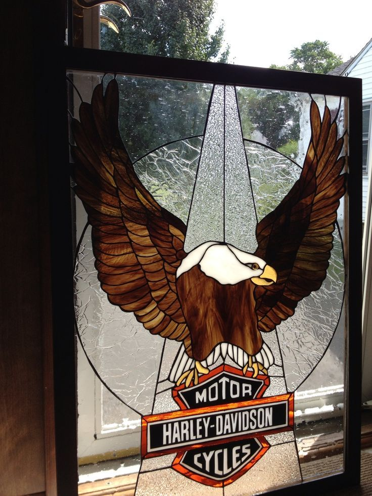 Harley Davidson Logo In Copper Foil Stained Glass