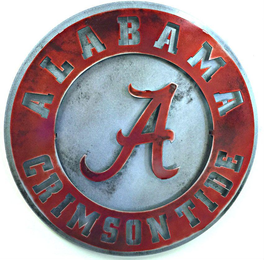 University Of Alabama Crest Vintage Red On Natural Vintage Steel University Of Alabama Metal Artwork Vintage