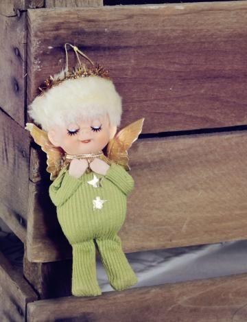 Sleeping Angel Christmas Ornament, Vintage Green Elf , retro holiday ornament sleeping elf,  by Fleaosophy for $6.50