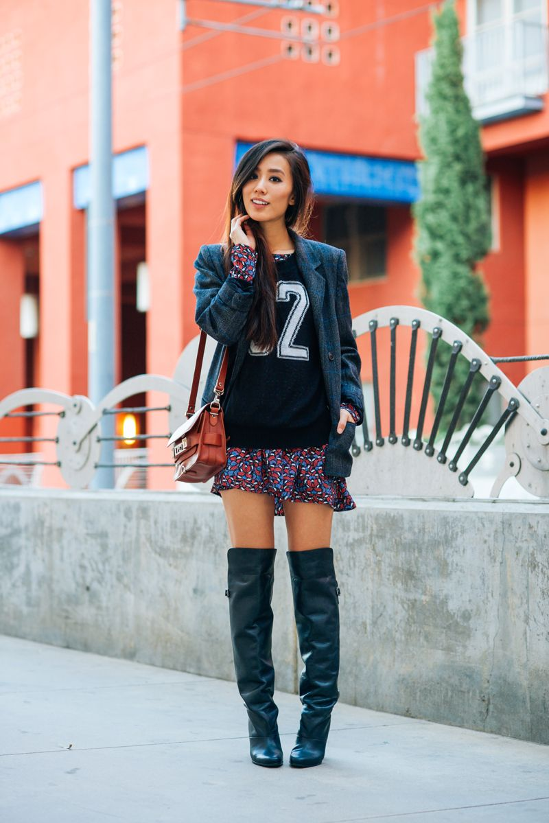 Neon Blush H&ampM thigh high boots varsity sweaters athletic