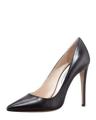 4af16bcc10 Capretto Leather Pointed-Toe Pump, Black by Prada at Bergdorf Goodman.