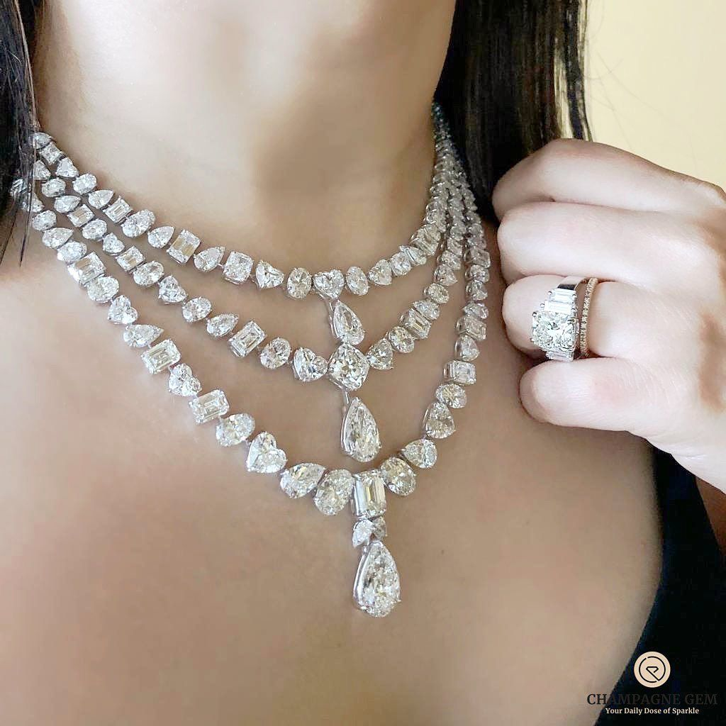 Champagne Gem By Bebe Bakhshi On Instagram Queenmoment With Kamyenjewellery Three Layered Diamond Neck Unique Diamond Pendant Real Diamond Necklace Diamond