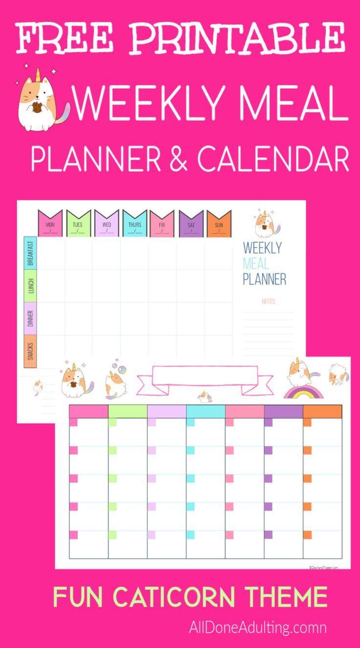 Cute free printable weekly meal planner and perpetual