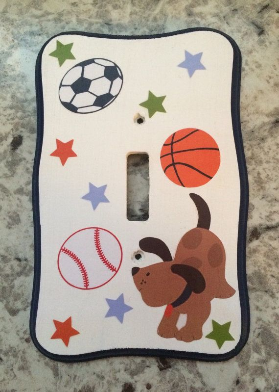 Light Plate Switch Outlet Cover Bow Wow Dog Sports Nursery Bedding ...