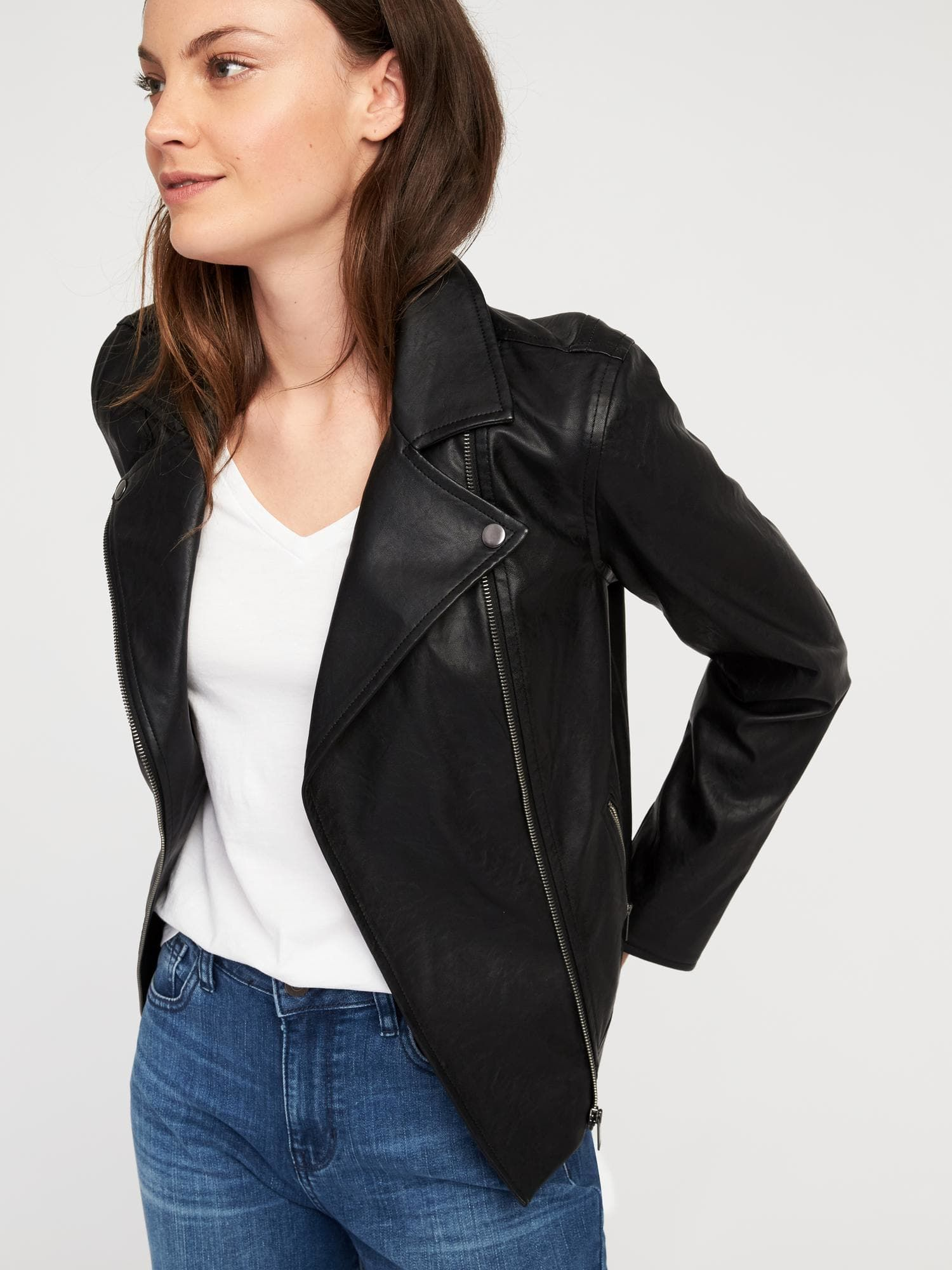 Old Navy black faux leather moto jacket Fashion, Clothes