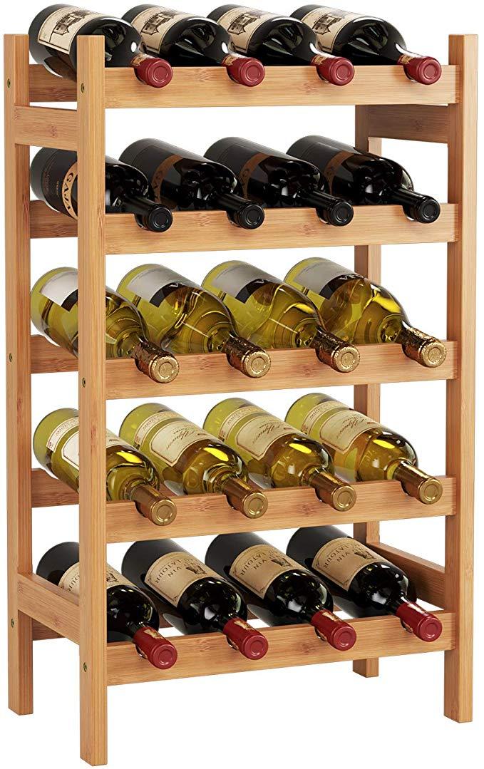 Amazon Com Homecho Bamboo Wine Rack With 5 Tier Storage Shelf 20 Bottles Display Stand Shelves Free Standing Wobble F Bottle Display Wine Rack Storage Shelves
