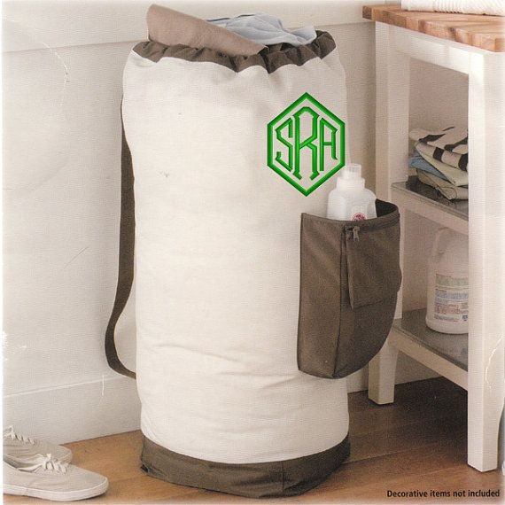 Large Heavy Duty Personalized Laundry Bag With Pocket Dorm And Carrying Strap Monogrammed On Etsy 25 00