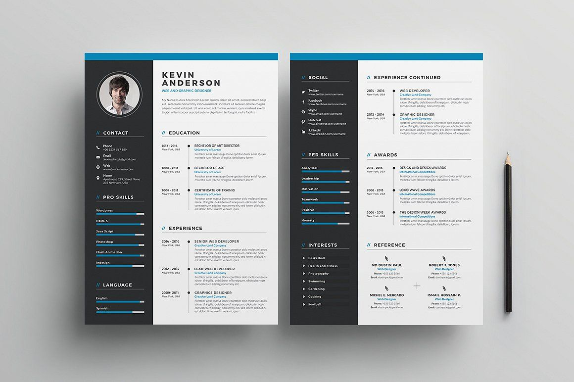 Resume/CV - 5 Pages #cover#letter#card#Main | Graphics ...