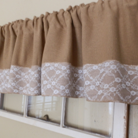 Burlap Valance With 4 White Lace Trim 16 X 72 Burlap Valance Valance Curtain Decor