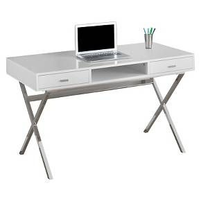 Chrome Metal Computer Desk Glossy White Everyroom White Computer Desk Contemporary Computer Desk White Writing Desk