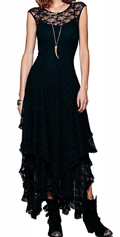 Rvivimos women lace asymmetrical sleeveless long dresses with