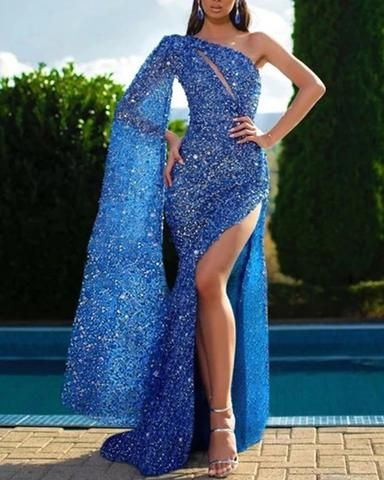 Sexy Slanted Shoulder Evening Dress -   15 dress Party life ideas