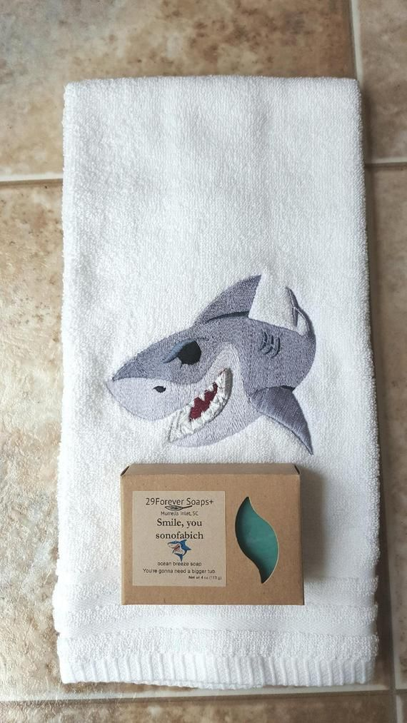 Shark Week gift, Jaws Inspired gift, shark lover gift, embroidered shark towel, ocean scent soap, shark week party, great white shark gift