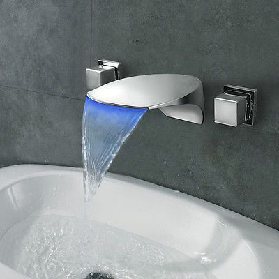 Dual handles bathroom basin brass sink waterfall chrome for Grifos modernos