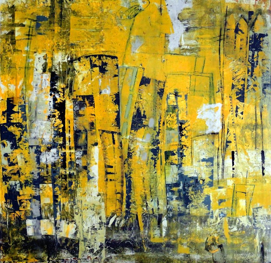 Urban Yellow | Abstract city, Yellow painting, Abstract art Yellow Black Abstract Paintings