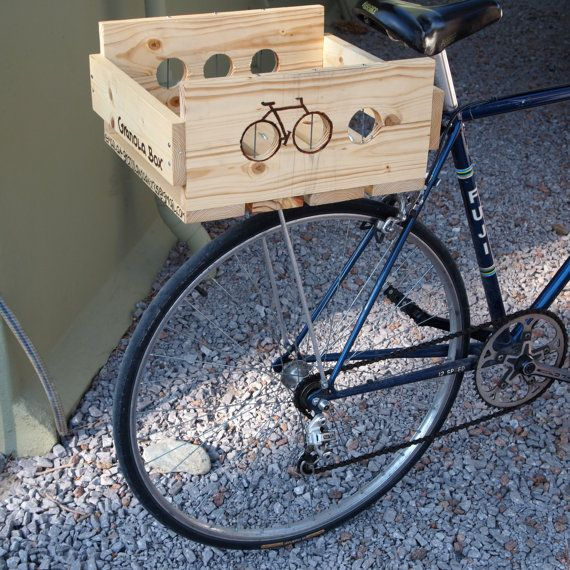 Wood Box For Bike Rack By Granolawoodworks On Etsy 40 00 Dicas
