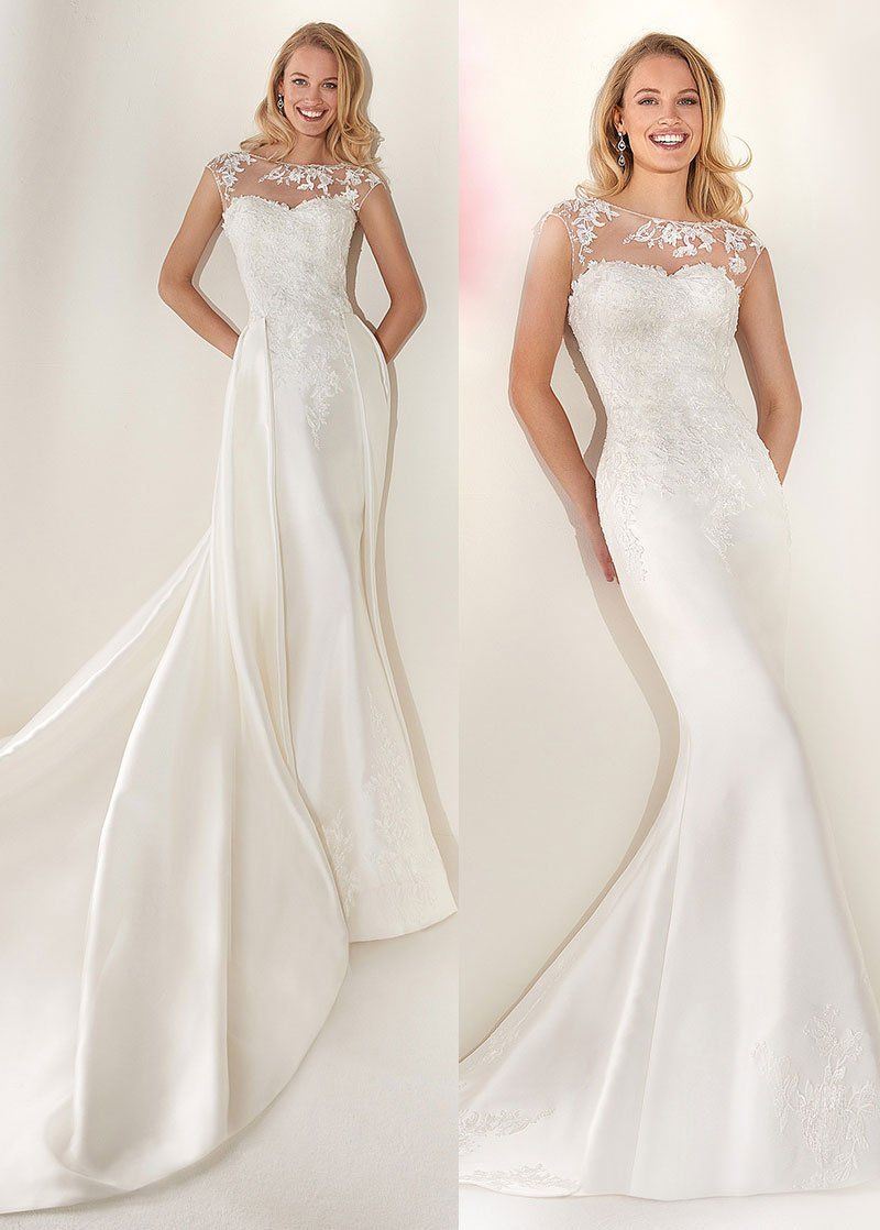 Simple Wedding Dresses, Delicate Tulle & Satin Bateau