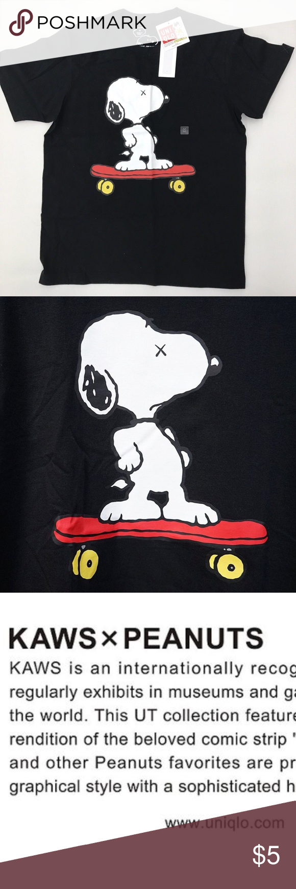 be7b7cace9f9dc Kaws x Peanuts Uniqlo Black Snoopy Tshirt - Smoke Free Home - Brand New  with Tags - Never Worn - Uniqlo - KAWS X PEANUTS Uniqlo x KAWS Shirts Tees  - Short ...