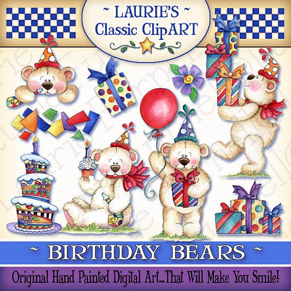 Birthday Bears Digital Art Laurie Furnell Birthday Clipart