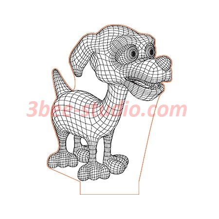 Happy Cartoon Dog 3d Illusion Lamp Plan Vector File