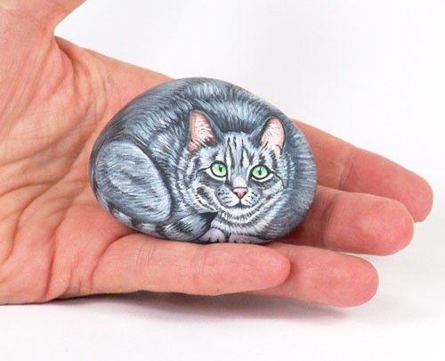 miniature grey kitty by LivingRocks on Etsy