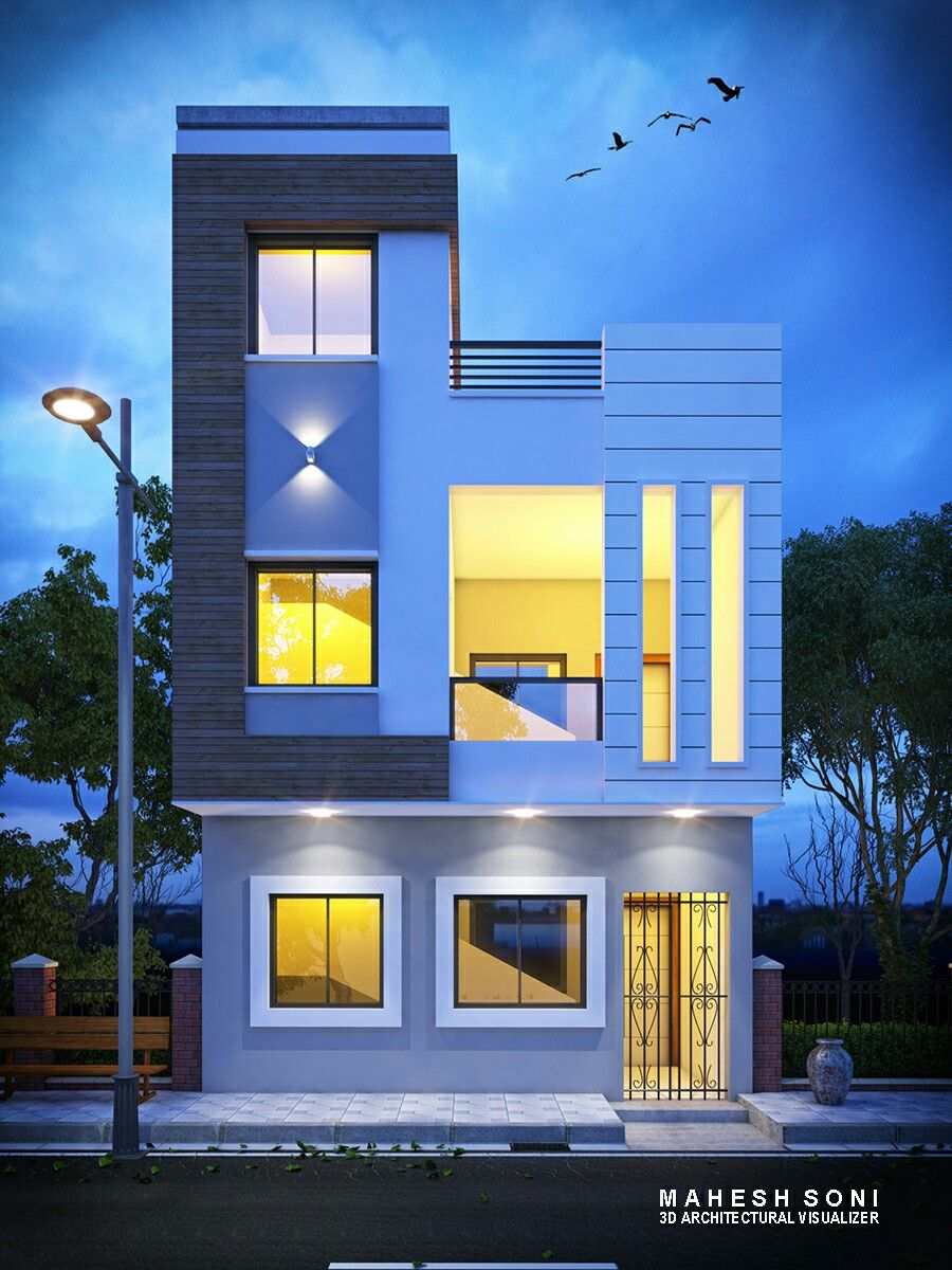 Home Design Ideas Front: Night 3D Exterior Elevation Design