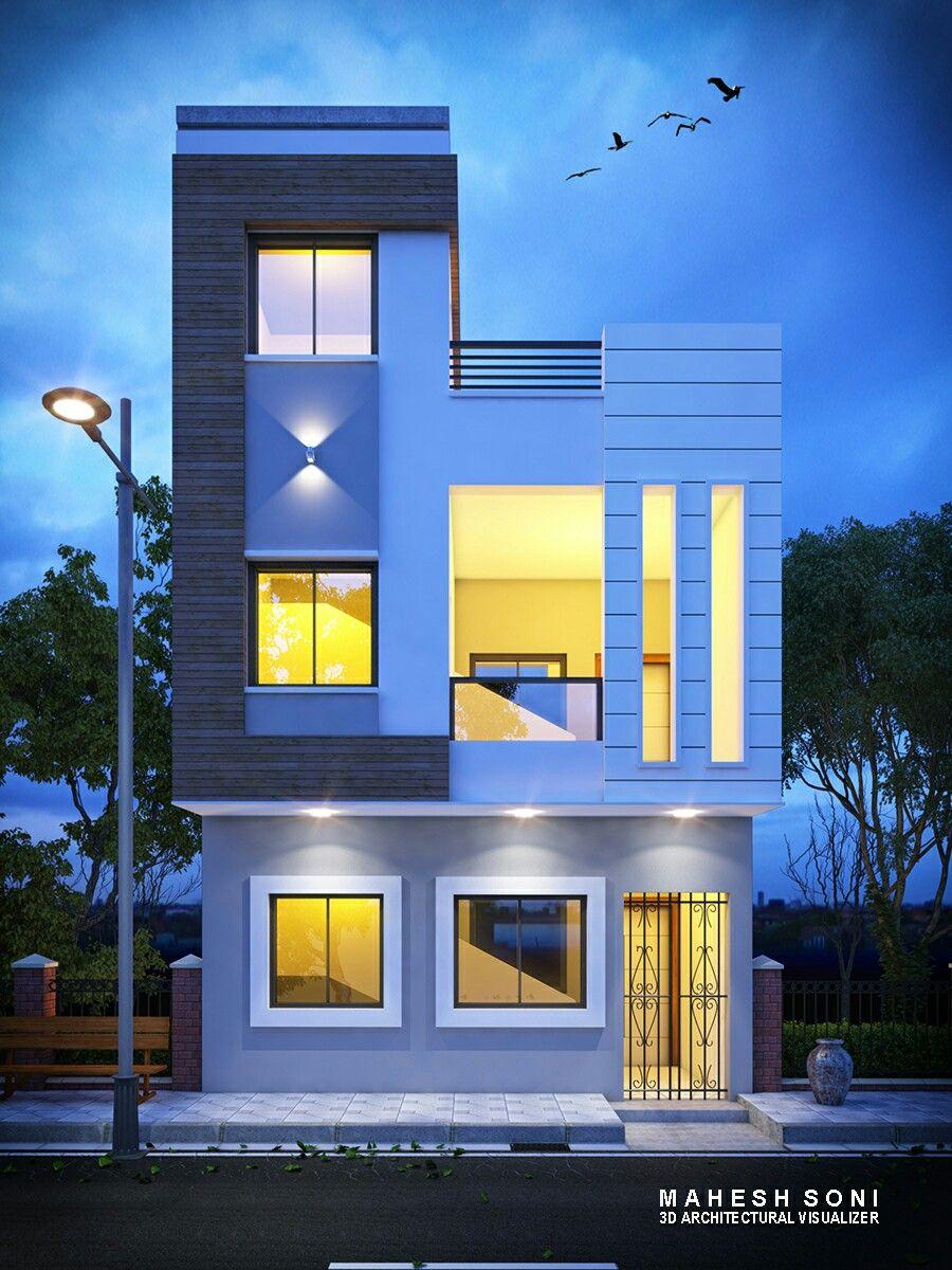 Night 3d Exterior Elevation Design House Elevation