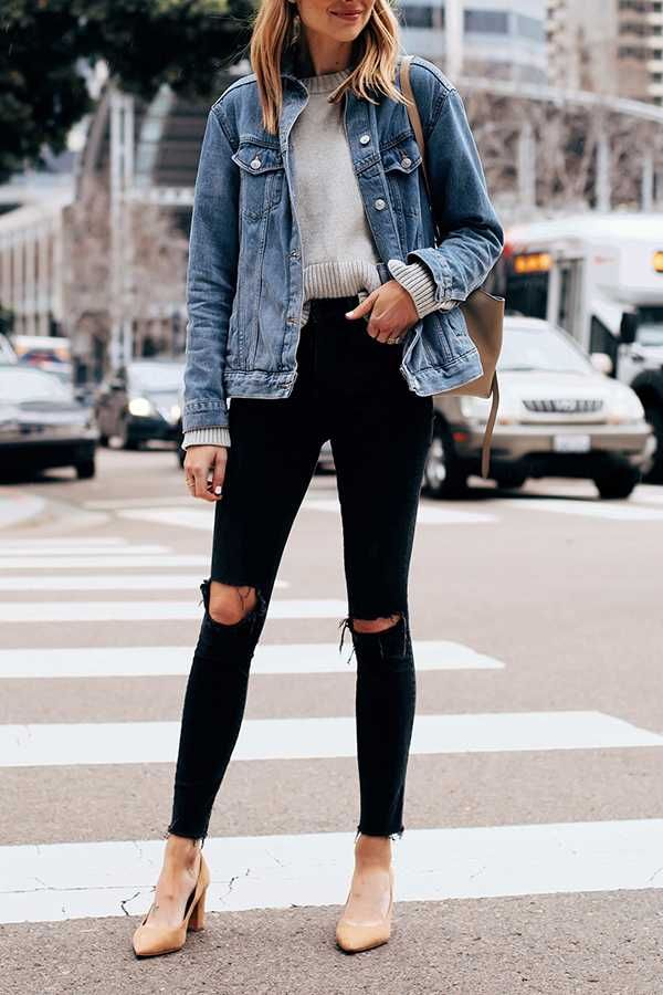 Oversized Light Washed Ripped Denim Jacket Womens Black Ripped Skinny Jeans Denim Jacket Outfit Slim Mom Jeans