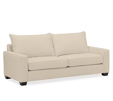 PB Comfort Square Upholstered Grand Sofa Knife-Edge, Polyester Wrap Cushions, Twill Parchment