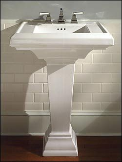 Square Pedestal Sink Not Curvy American Standard With Images