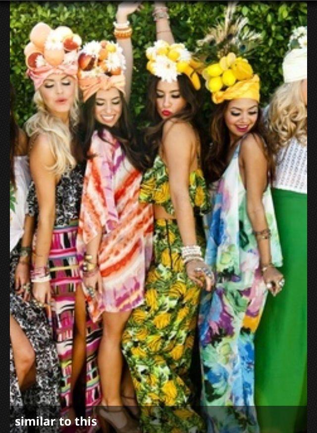 Tropical girl costumes Havana nights party Bachelorette
