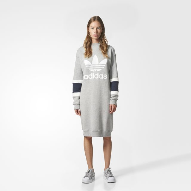 S t extraño bufanda  adidas - Trefoil Crew Dress $70 | Sweater dress casual, Sweater dress,  Adidas originals fashion