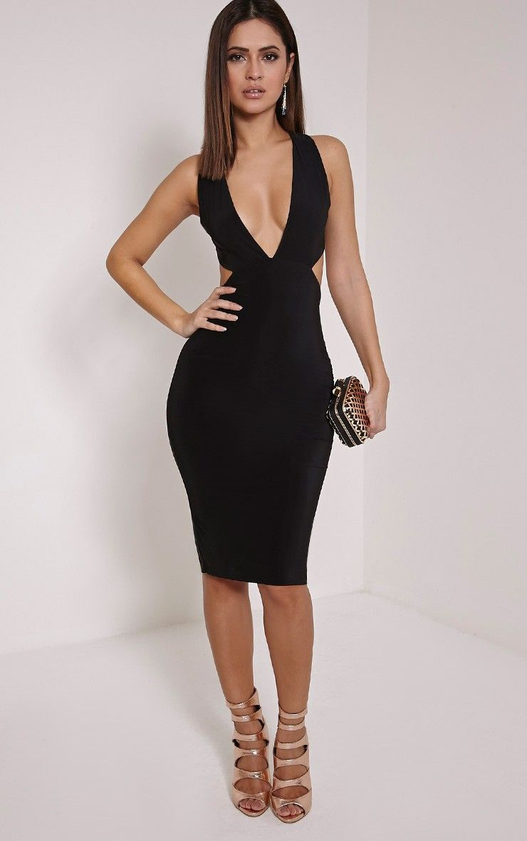 efc574e56c8d2e Biddy Black Deep V Plunge Cross Back Midi Dress Image 1