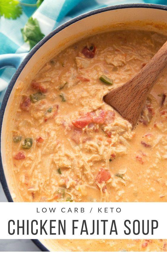 Low Carb Chicken Fajita Soup  #ketorecipesforbeginners