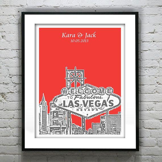 Las Vegas Wedding Gifts: Las Vegas Wedding Guest Book Guestbook Poster Print -City
