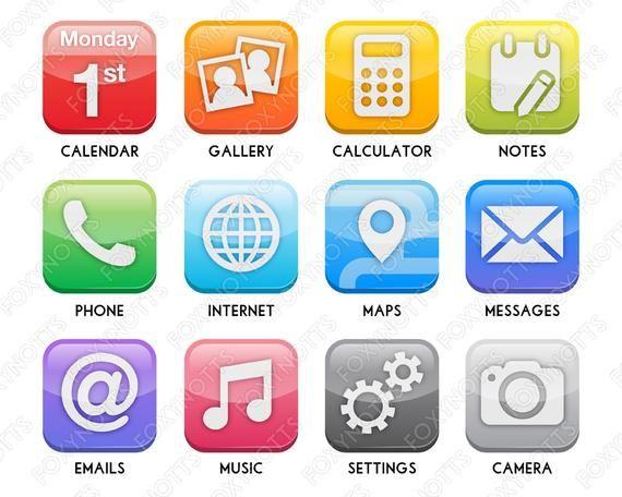 Rainbow App Icon Clip Art Set Digital Download, Clipart