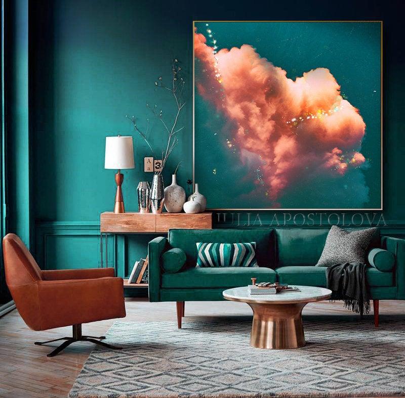 Cloud Painting Dark Teal And Orange Cloud Art Print On Etsy Teal Living Rooms Dark Blue Walls Blue Walls Teal and orange wall art