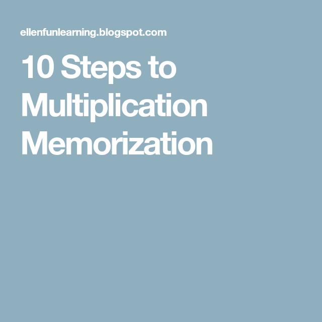 10 Steps to Multiplication Memorization | School practice ...