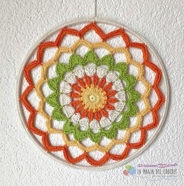 mandala-atrapasuenos-attrapereves-crochet (14) | rosaces, mandalas ...