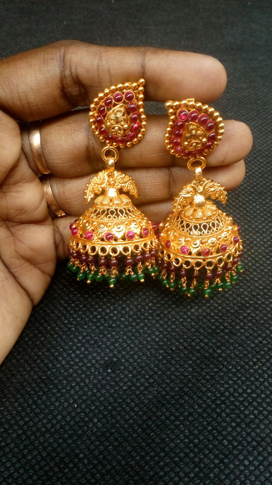 Kemp silver Jhumka Antique gold plating with with red tint Big