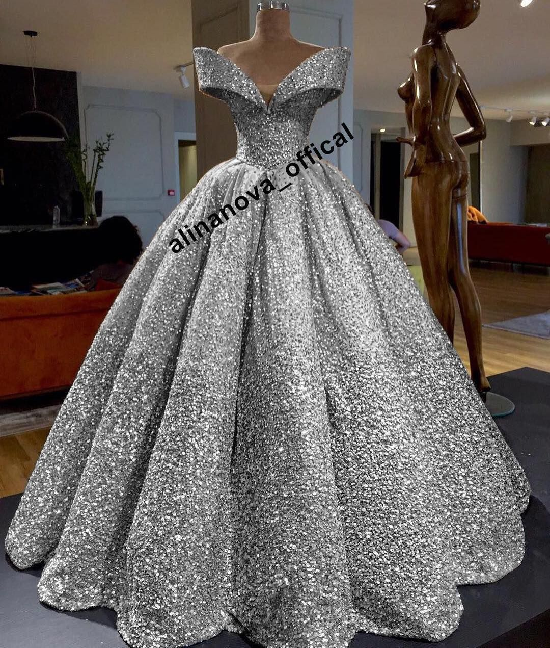 Wedding Dresses Evening Gowns: This Silver Ball Gowns Wedding Dress With Sequins Beaded