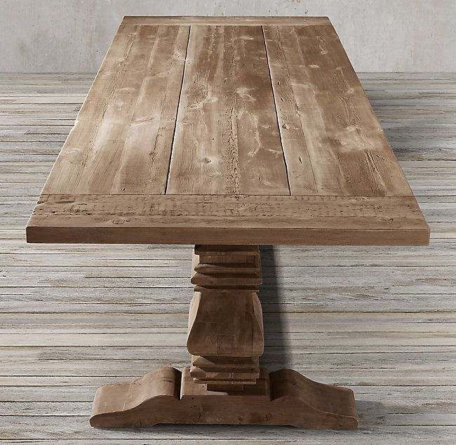 Rh 39 S Salvaged Wood Trestle Rectangular Extension Dining Table