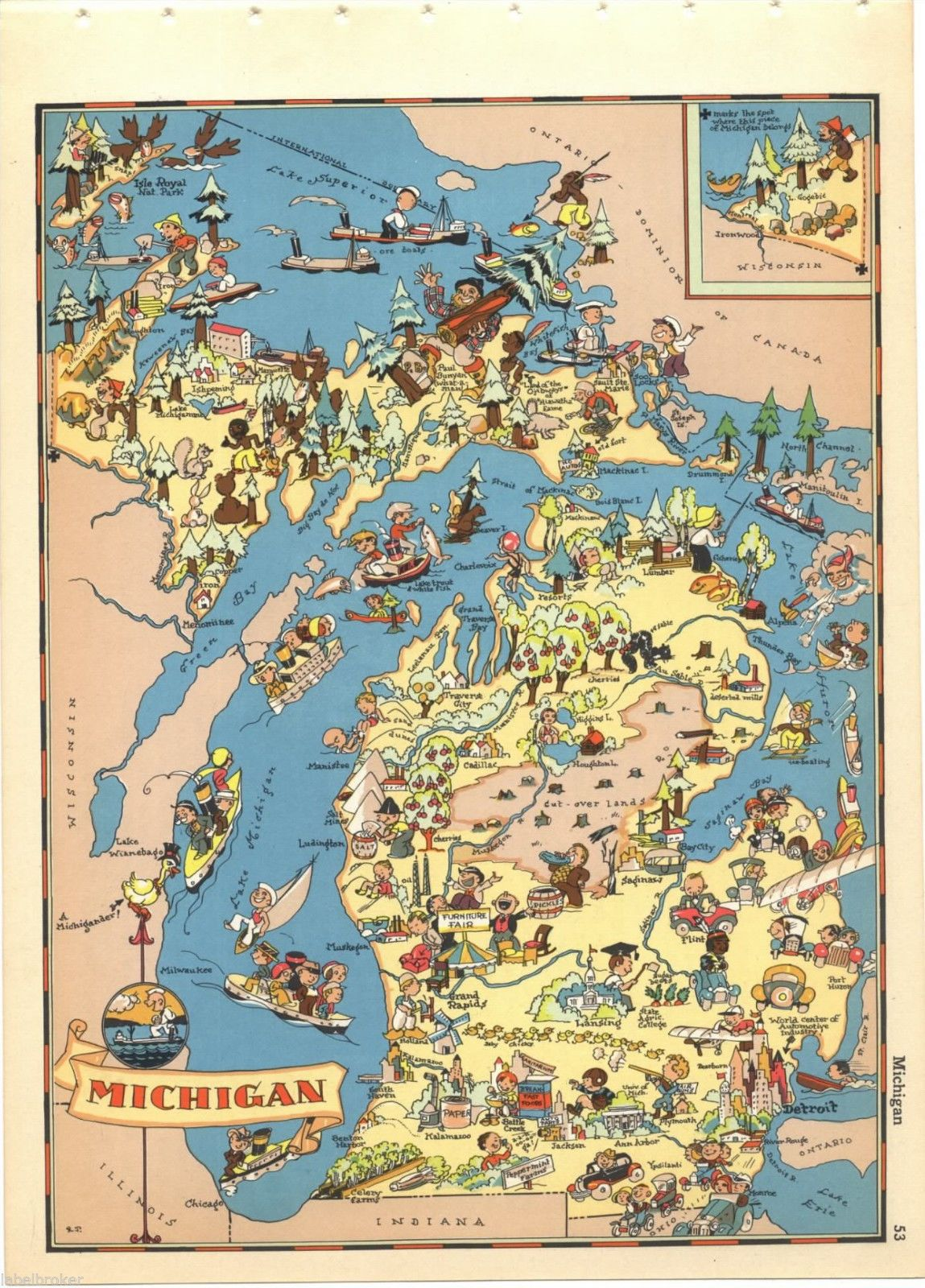 Ruth Taylor Vintage Michigan Map Original Cartoon RARE Pictorial