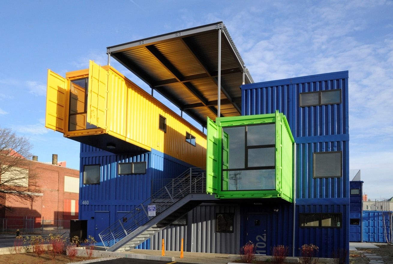 colorful big blue green yellow shipping containers house design