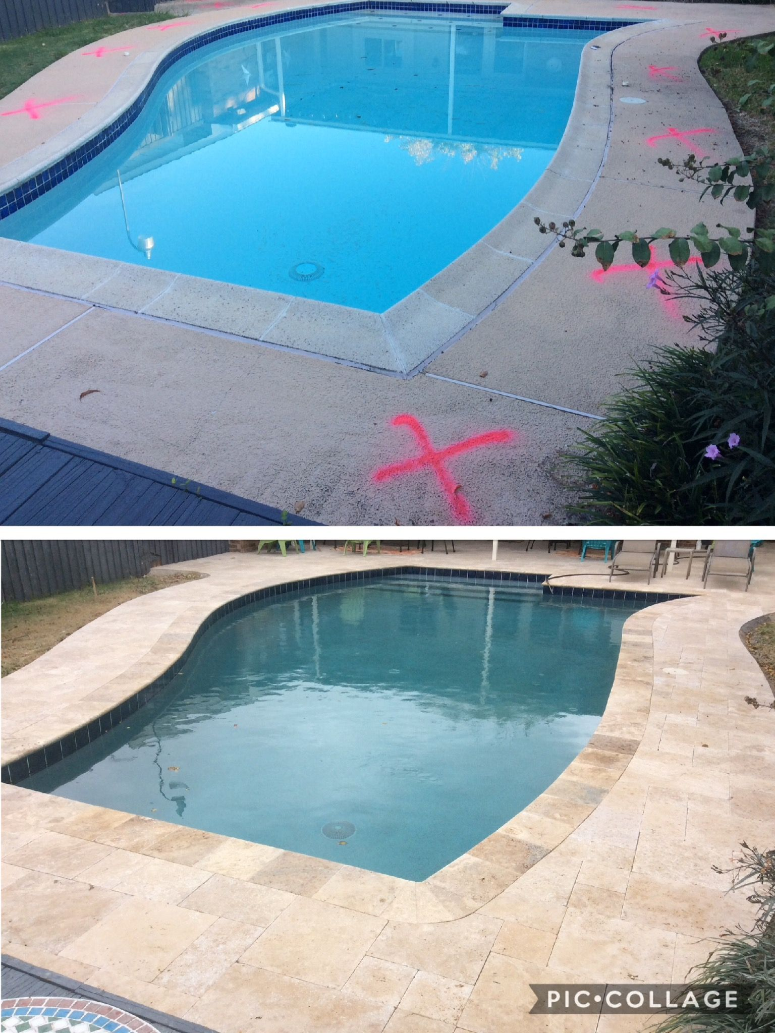 Before After From A Concrete Deck And Coping To Travertine Deck Coping Stones And A New Resurface Pool Remodel Pool Patio Designs Travertine Pool Decking
