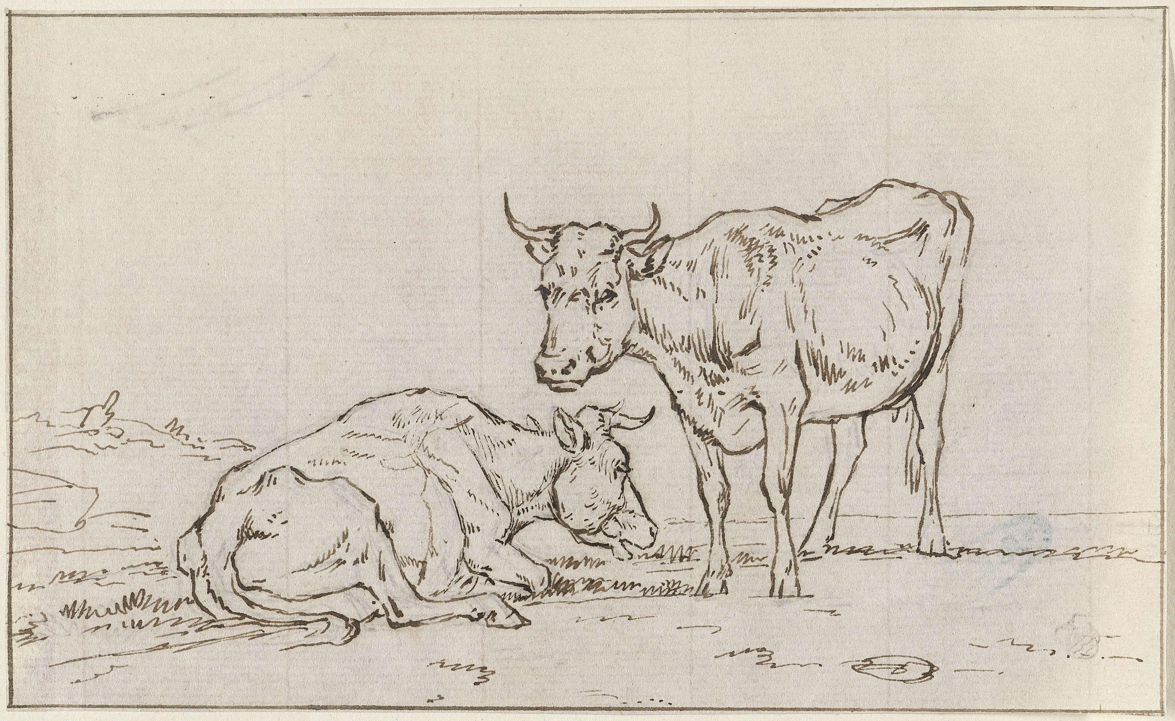 Jan Kobell (II) | Koeien in een landschap, Jan Kobell (II), 1788 - 1814 | Een liggende en een staande koe bij een vervallen hek. Op de achtergrond staat een derde koe te grazen en zijn de contouren van een kerktoren te zien