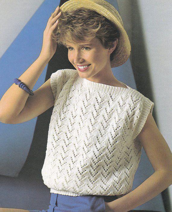 PDF vintage knitting pattern boat neck top sleeveless ...