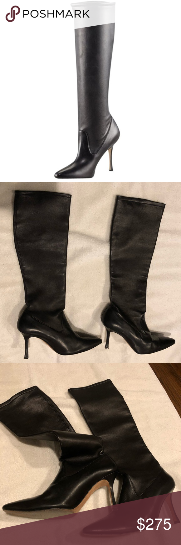 Manolo Blahnik Pascalare Stretch Leather Boot 37.5 Gorgeous Manolo Blahnik tall stretch leather boot...