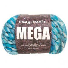 """Mary maxim mega yarn: Super bulky yarn that knits and crochets up quickly and is great for scarfs and accessories.    Yarn Weight:     6 Super Bulky    Yarn Ball Weight:     3.5 oz (100 g)    Yarn Ball Length:     40 yds (36.576 m)    Gauge:     6 sts. and 9 rows to 4"""" (10 cm)    Knitting Needle Size:     19 (15 mm)    Fiber Content:     52% Acrylic, 36% Wool, 12% Alpaca    Care Instructions:     Hand wash in cool water, Lay flat to dry."""